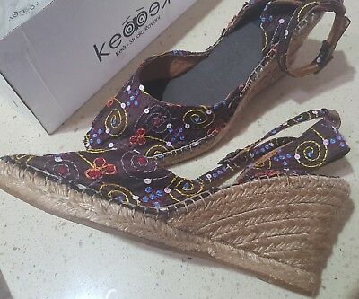 NEW Kea Studio Ladies Shoes Hippy Hobo Wedges Size 39 Made in Spain WAS $109!