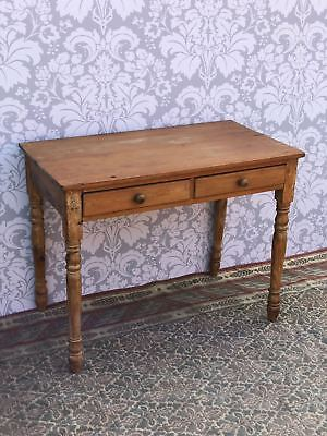 Antique Victorian Pine Country Side  Table Good Size Two  draw  Good Order
