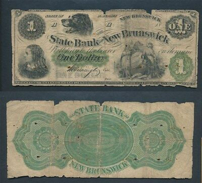 USA: 1860s New Jersey State Bank at New Brunswick $1, Scarce!
