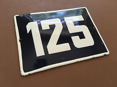 ANTIQUE VINTAGE ENAMEL SIGN HOUSE NUMBER 125 BLUE DOOR GATE STREET SIGN 1950's