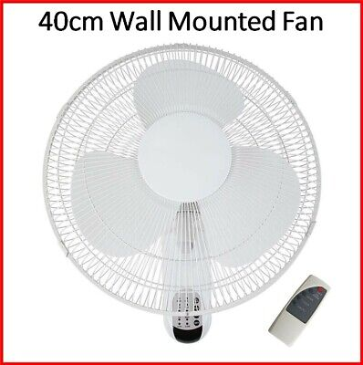 Heller 40cm Wall Mounted Fan with Remote Control Timer Oscillating Cooler