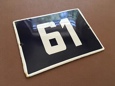 ANTIQUE VINTAGE ENAMEL SIGN HOUSE NUMBER 61 BLUE DOOR GATE STREET SIGN 1950's