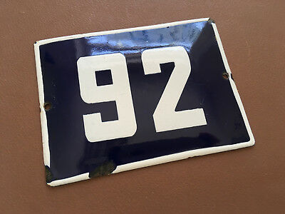ANTIQUE VINTAGE ENAMEL SIGN HOUSE NUMBER 92 BLUE DOOR GATE STREET SIGN 1950's