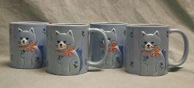 Set of 4 Otagiri Cat Coffee Mugs Blue Silly Happy Bows Japan Hand Crafted Flower