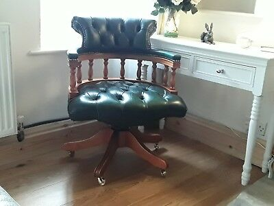 Antique Style Green Leather Swivel Office Captains Chair - ANTIQUE CAPTAINS Swivel Chair - £80.00 PicClick UK