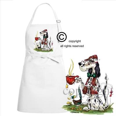 English Setter Dog Breed Cartoon Caricature Cup Of Hot Tea Kitchen Chef Apron