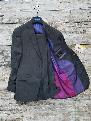 New $795 Ted Baker Endurance [36 S] 100% wool Pique gray two piece suit