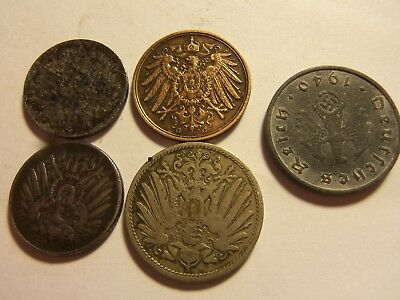 lot of five german coins