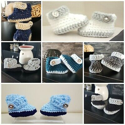 ** New Handmade crochet baby boy booties newborn - 9 m 8 colours
