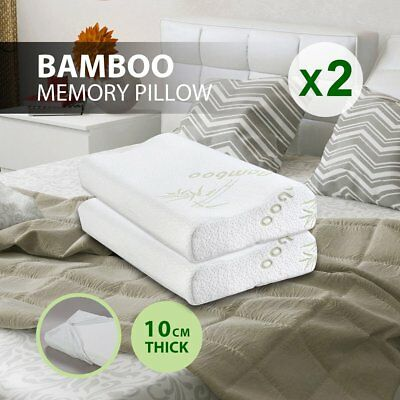 2x Memory Foam Contour Pillows with Bamboo Fabric Cover (50 x 30cm)  BE PLJP