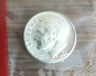 1964 D Roosevelt Dime in Choice BU Condition In Mint Cello US Silver Coin