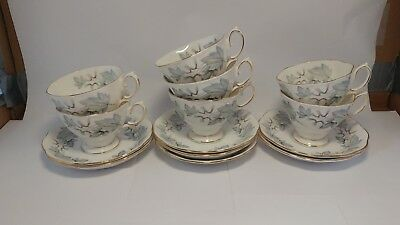 Set of SEVEN Royal Albert Silver Maple Teacup Cup & Saucer Sets