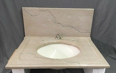 Antique 28x20 Rose Marble Top Backsplash Bath Sink Vitreous China Basin 177-18E