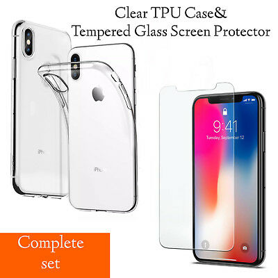 For iPhone XS 8 7 6 Clear Case Cover TPU Gel and Tempered Glass Screen Protector