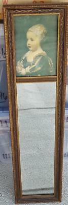 Antique Carved Wood Framed Wall Mirror - Narrow Size - PRETTY FRAME & PRINT