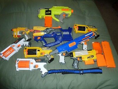 Big lot of Nerf guns , extra clips and clip strap