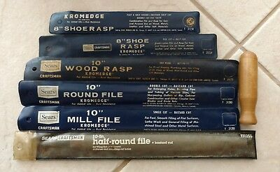 Lot of Six Vintage Craftsman metal files Mill Round Wood Rasp Shoe Kromedge
