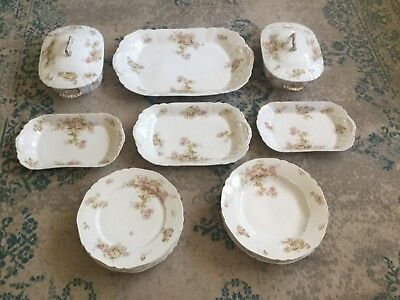 1940 Porcelain Limoges Antique French Soup Dinner Plate service for 4 Gilding