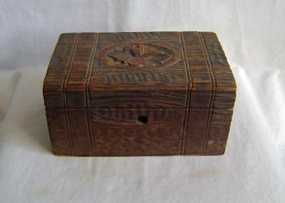 Late Victorian Carved Rustic Pine Wooden Jewel Box