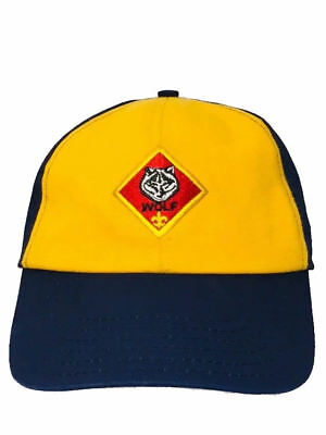 Vtg Cub Scout Wolf Hat Blue Yellow Snapback USA Made Adjustable Medium Large