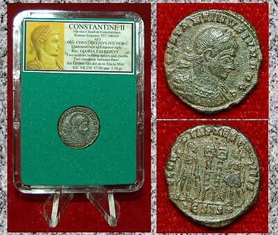 Ancient Roman Empire Coin Of CONSTANTINE II Two Roman Soldiers and Two Standards