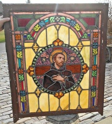 Vtg Antique Stained Glass Church Window St Frances Architectural Salvage Chicago