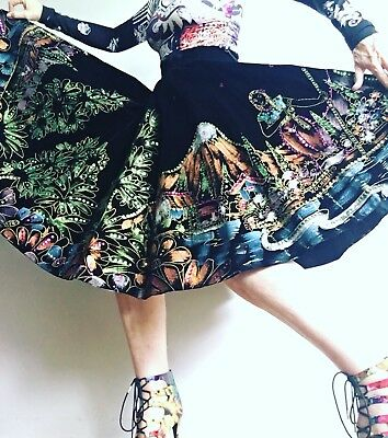 1950s Hand Painted And Beaded Black Swing Circle Skirt Mexico City
