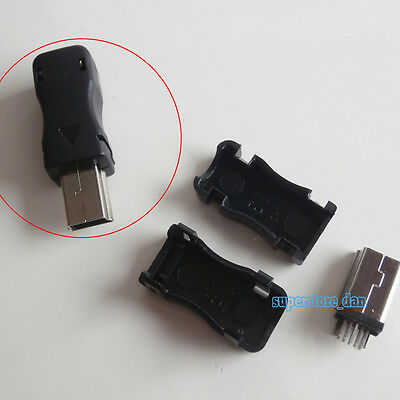 5Pcs Mini USB 10-Pin Male Plug Socket Connector with Black Plastic Cover DIY