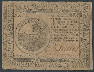 "#cc-16 Continental Congress ""philadelphia"" 6 Dollars Nov 29,1775 F-Vf Bu3445"