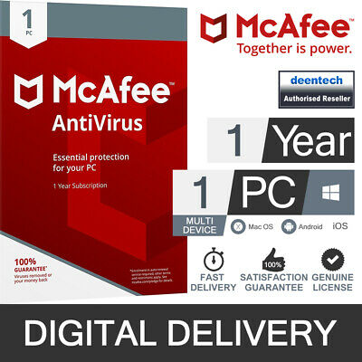 McAfee Antivirus Plus 2020 (1PC/1Year) Genuine Authentic License Windows