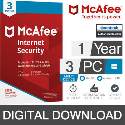 McAfee Internet Security 2020 (3 User) Multi-Device PC/Mac Genuine License Key