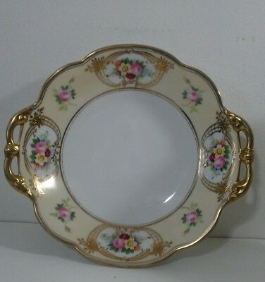 Nippon hand painted Serving Dish Bowl w/ Gold Rim & Handles