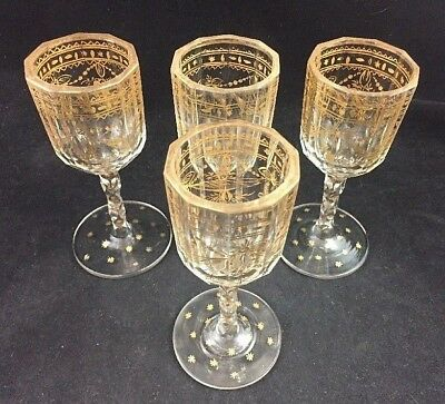 "Set of 4 Georgian Blown Cut Glass Faceted Stem Gold Gilt 5 1/2"" Wine c. 1770"