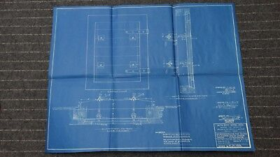 """(CR139) Original 1919 Blueprint Drawing 20"""" x 27"""" - Strongbacks for Doors in For"""