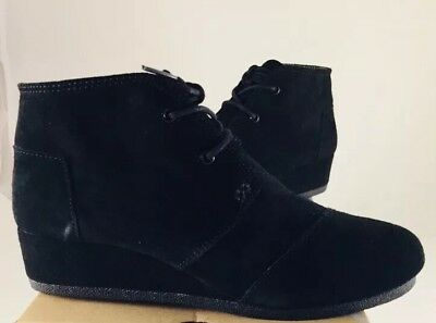 82e4d6696fd Toms Desert Wedge Youth US 6 Black Suede Wedge Heel Boots