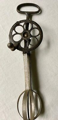 Vintage Cast Metal Handle 10.5'' Embossed Dover Egg Beater Collectible USA