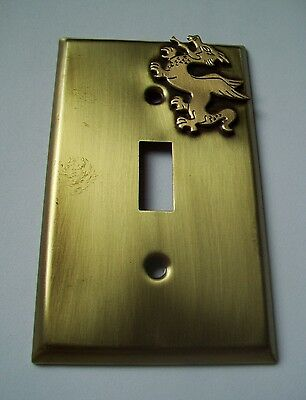 Light Switch Plate Cover  Brass Single Toggle -FANTASY DRAGON  DESIGN