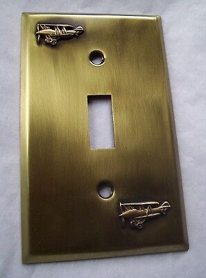 Light Switch Plate Cover  Brass Single Toggle -BI-PLANE DESIGN