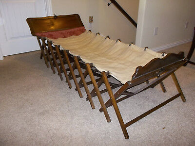 Antique Military Officer's Expandable Folding Wood Sleeping Cot Day Bed RARE