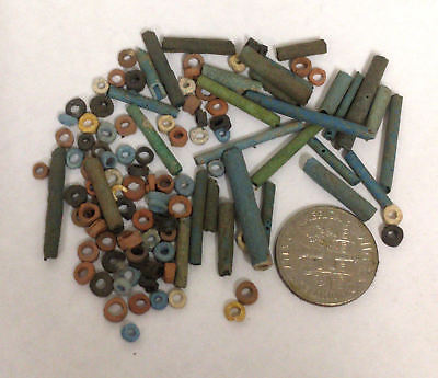 More than a Hundred 2500 Year old Ancient Egyptian Faience Mummy Beads (K9)