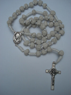 Apparition Hill Stone White Cord Rosary from Medjugorje Handmade +Holy Gift Card