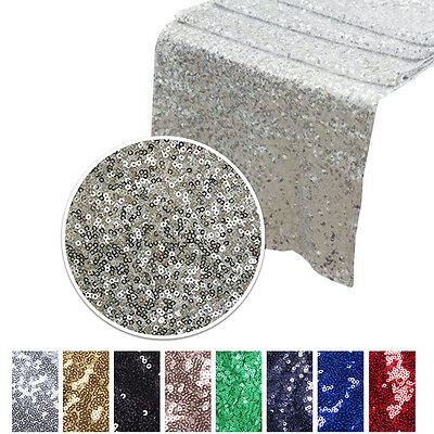 """12""""x 72"""" Sparkly Sequin Table Runner Glitter Wedding Catering Decorations Party"""