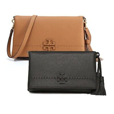 483b5f51b84 Authentic Tory Burch McGraw Fold-Over Crossbody Bag Leather Black Baguette  NWT