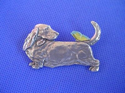 Basset Hound Butterfly PIN Pewter Dog Jewelry b Cindy A. Conter Scenthound 61B