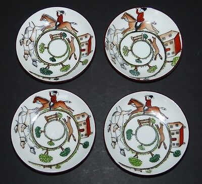 """4 Vintage Crown Staffordshire China 3.5"""" Pin Dishes Hunting Scene Hand Painted"""