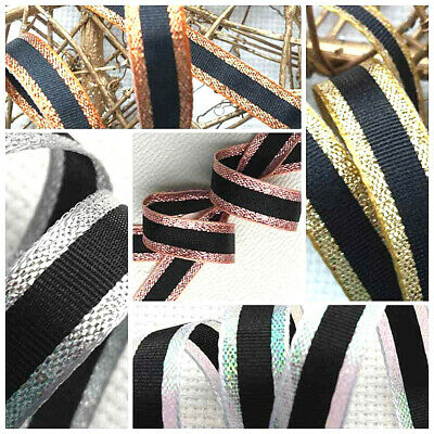 Winter Plaid Berisfords Metallic Rose Gold Silver Ribbon Cut Lengths Sewing