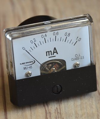 1mA Moving Coil Panel Meter MU45,  X5 (Lot of five panel meters)