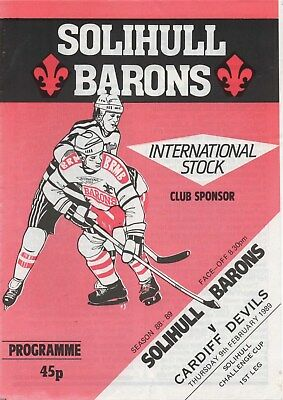 Feb 89 SOLIHULL BARONS v CARDIFF DEVILS Solihull Challenge Cup