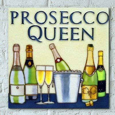 "HAND PAINTED CERAMIC WALL TILE ""PROSECO QUEEN"" 8"" x 8"" NEW & BOXED"