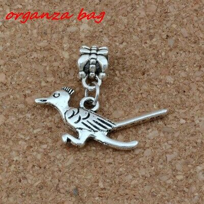 Dangle Ancient silver Roadrunner Bird Charm Big Hole Bead Fit Charm Bracelet